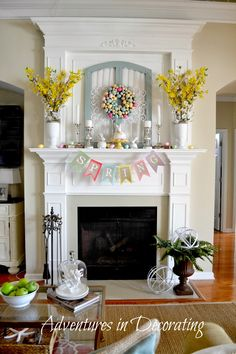 Adventures in Decorating Spring/Easter Décor 2014...Lovely!  http://adventuresindecorating1.blogspot.com/2014/03/styling-our-spring-mantel.html