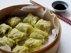 Steamed Cabbage Dim-Sum Dumplings - Really good dipping sauce!