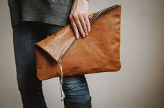 Oversized  Clutch, everyday leather clutch