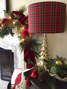 Mad for Plaid! I fell in love with this Christmas tree lamp from HomeGoods, a tall gold pine tree with a classic Christmas red plaid shade. It adds just the right amount of festive color to the fireplace area. Happy By Design Sponsored Post
