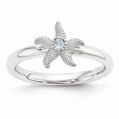 #starfish #ring Sterling Silver Stackable Expressions Blue Topaz Starfish Ring QSK1861