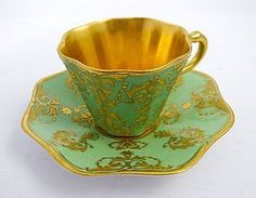 Antique Coalport Enameled Demitasse Cup & Saucer