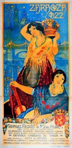 Zaragoza, Spain. Cartel de Fiestas del Pilar. 1922
