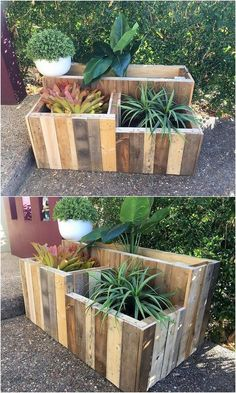 60 Unique Wood Pallet Ideas To DIY This Weekend - Pallet Projects Want to do some amazing pallet projects with free pallets? Then check this grand list of 60 Unique Wood Pallet Ideas! you can build every kind of furniture Wood Pallet Planters, Pallet Decking, Wood Pallet Recycling, Recycled Pallets, Diy Planters, Wood Pallets, Outdoor Pallet, Pallet Wood, Pallet Couch