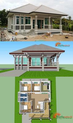 Bungalow com 3 Quartos - Lilly is Love Sims House Plans, House Layout Plans, Small House Plans, House Layouts, Home Building Design, Building A House, Philippines House Design, Affordable House Plans, Philippine Houses
