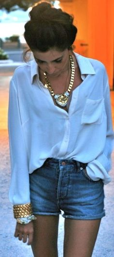 Love. Love Love this look for the summer. White blouse can be interchanged with shorts or jeans and different accessories to create multiple looks