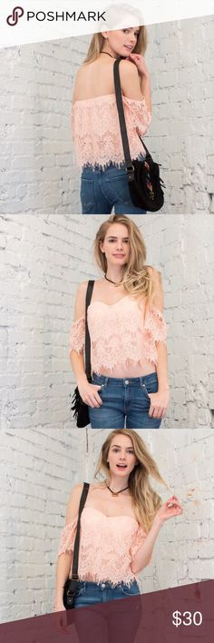 Pastel Baby Pink Lace Off the Shoulder Top Blouse Free shoulders with gorgeous baby pink lace.  Strapless for a tube top fit. Has light padding. Has an under lay as well. **Price is Firm! :) ❤️ April Spirit Tops Blouses