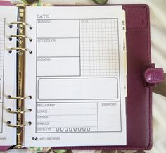 A5 Filofax size 'Daily Life' printable page