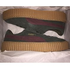Rihanna x Puma Green-Bordeaux Suede Creepers Most coveted shoe of the year! Suede creepers by Puma x Rihanna. Women's size 9.5, snug fit. Brand new, never worn, with box and velvet drawstring holding bag! Sold out everywhere.....prefer to sell off pshmrk and through pypl Puma Shoes Sneakers