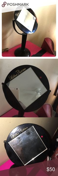 Vintage Paloma Picasso Beauty Mirror black mirror embossed in gol Picasso Paloma- adjustable mirror-Red rhinestone- stands about 8 inches Tiffany & Co. Makeup Brushes & Tools