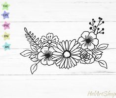 Flower Outline, Flower Svg, Flower Frame, Flower Boarders, Floral Drawing, Cactus Drawing, Monogram Frame, Simple Flowers, Hand Embroidery Patterns