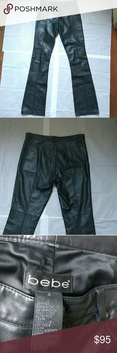 "Bebe 100% genuine leather pants Bebe pants 100% real genuine leather! very  Slight bootcut, no pockets on the back, 32"" inseam, 9""rise, 14.5 waist. Worn 2 times, great condition refer to the pictures for imperfections. Ask questions,  Reasonable offers welcome through offer button. bebe Pants Boot Cut & Flare"