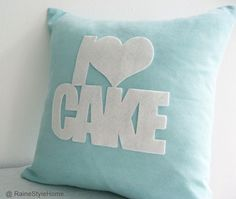 Handmade.  I Love Cake Pale Turquoise And White Pillow Cover. Cozy Tea Time.
