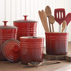 Le Creuset Enameled Stoneware Canisters | Williams-Sonoma. In different color?