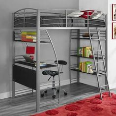 Bunk Beds with Desk Twin Loft Bed Kids Boys Girls Bedroom Furniture Metal Modern Loft Bunk Beds, Bunk Bed With Desk, Modern Bunk Beds, Bunk Beds With Stairs, Kids Bunk Beds, Camas Murphy, Bedroom Furniture, Bedroom Decor, Home Decor Ideas