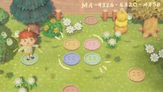 Animal Crossing Wild World, Animal Crossing Fan Art, Animal Crossing Memes, Animal Crossing Villagers, Animal Crossing Qr Codes Clothes, Frog Theme, Chalk Design, Motifs Animal, Path Design