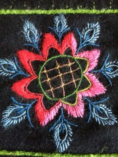 Part of a wool embroidery