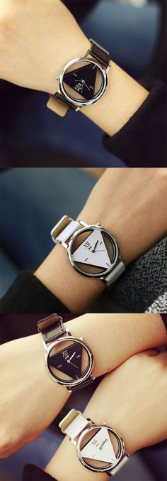 Fashion Simple Triangle Hollow Couple Transparent Students Watch only $19.99