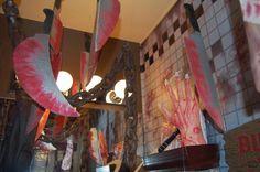 Magalie Sarnataro's props Chop shop bathroom: vinyl and other props , cardboard cutouts Bathroom 2015 Bathroom Vinyl, Halloween 2015, Neon Signs, Fun, Shopping, Hilarious