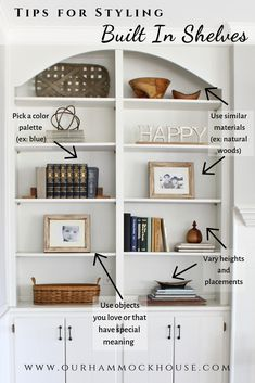 """Tips on how to style built in shelves and open shelving. Style your shelves to create the perfect """"shelfie""""! Tips on how to style built in shelves and open shelving. Style your shelves to create the perfect """"shelfie""""! Styling Bookshelves, Decorating Bookshelves, Bookshelves Built In, Book Shelves, How To Decorate Bookshelves, Arranging Bookshelves, Ikea Shelves, Closet Shelves, Hanging Shelves"""