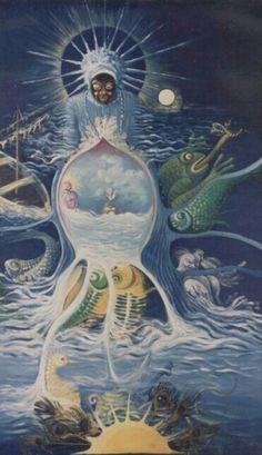 Painting by Luis Alberto Faraco (United States) Yemaya Orisha, Yoruba Orishas, African Mythology, Yoruba Religion, Mermaid Wallpapers, Esoteric Art, Black Love Art, Black Artwork, Mermaid Art