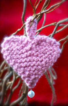 Pink Hand Knit Heart I Love You and Valentines Day by AquaLumen, $10.00