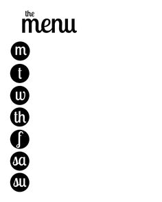 Put in frame and use dry erase marker to write - Cute Menu Printable - Would be really cute on colorful scrapbook paper Weekly Menu Printable, Printable Shopping List, Weekly Meal Planner, Free Printable, Planner Organization, Printable Organization, How To Make A Paper Bag, Paper Bag Scrapbook, Family Command Center