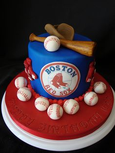 Boston Red Sox Birthday Cake but i have to try this with the Cleveland Indians of course Cupcakes, Cupcake Cakes, Red Sox Cake, Baseball Birthday Cakes, Baseball Party, Sport Cakes, Boston Red Sox, Boston Boston, Boston Sports