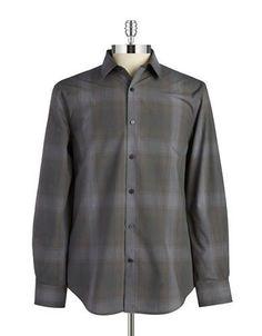 Perry Ellis Plaid Cotton Sportshirt Men's Grey Large