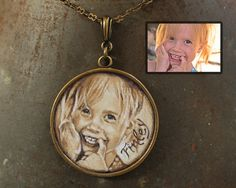 Single Portrait Large Circle - your child, grandchild, loved one - Original Oil Hand Painted Pendant Necklace Round Canvas, Cute Gifts, First Love, Hand Painted, Christmas Ornaments, Portrait, Holiday Decor, Children, Unique Jewelry