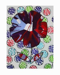Spin art flower - pop art lesson - look at Andy Warhol, Jim Dine and Damien Hirst