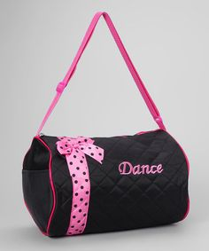 Take a look at this Black Bow Dance Duffel Bag by Seesaws & Slides on #zulily today!