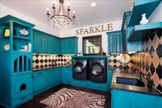 These people have a cat named Sparkle, who chose the turquoise paint, glittery chandelier and zebra rug herself. Turquoise Cabinets, Blue Cabinets, Colored Cabinets, Laundry Room Cabinets, Laundry Appliances, Cupboards, Kitchen Cabinets, Laundry Rooms, Mud Rooms