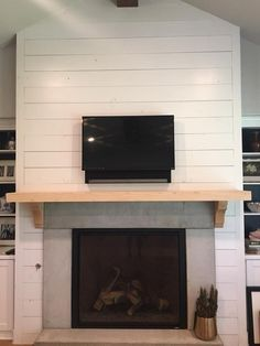Shiplap fireplace fireplace with custom mantle shiplap fireplace wall diy Beach Fireplace, Wood Mantle Fireplace, Farmhouse Fireplace, Fireplace Remodel, Fireplace Mantle, Fireplace Design, Custom Fireplace, Fireplace Ideas, Latest Kitchen Designs