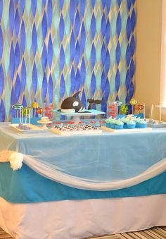 streamers as water.Under the Sea Party with Lots of Cute Ideas via Kara's Party Ideas Schober awesome cake Ocean Party, Water Party, Shark Party, Water Birthday, First Birthday Parties, Mermaid Birthday, Birthday Ideas, Under The Sea Theme, Under The Sea Party