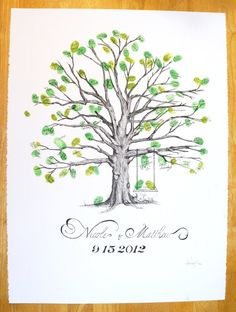 Hand Drawn Small Thumbprint Tree Alternative by RifleTheTrifles, $125.00 Happy Birthday Dog, Birthday Cards For Mom, Birthday Gift For Wife, Love Birds Drawing, Presents For Bff, Cupcakes For Men, Thumbprint Tree, Best Birthday Quotes, Wedding Letters