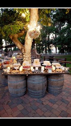 Love this idea for a dessert table at our wedding
