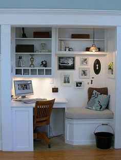 Office Nook - Design photos, ideas and inspiration. Amazing gallery of interior design and decorating ideas of Office Nook in living rooms, dens/libraries/offices, kitchens, entrances/foyers by elite interior designers. Built In Desk, Built Ins, Computer Nook, Desk Nook, Desk Space, Corner Desk, Corner Office, Kitchen Corner, Study Corner