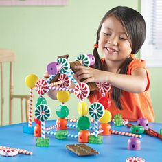 Candy constuction Building Set from Learning Resources. Build some sweet structures! Stretch those creativity, problem solving and fine motor skills.
