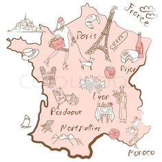 Cute map of France ~   Things that different Regions in France are famous for.