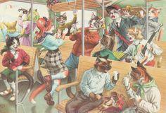 Humanizado vestida animais Alfred Mainzer Gato Gatos No Trem in Colecionáveis, Cartões postais, Animais   eBay