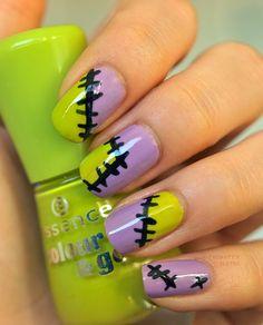 Loving this festive Frankenstein Halloween nail art!
