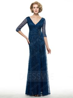 Buy Amazing V-Neck Half Sleeves Lace Sheath Mother Of The Bride Dress  Online, Dresswe.Com offer high quality fashion,Price: USD$130.39