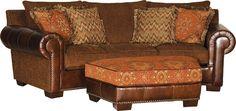 Mayo Furniture 551 Leather/Fabric Conversational Sofa - Manor Salsa