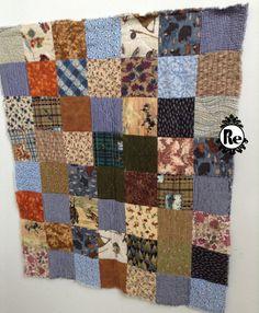 Vintage fait main Quilt Multi couleur carré motif par ReEmporium