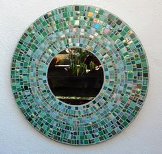 Green and Gold Mosaic Round Mirror Stained Glass by JooolesDesign