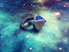 Lapis Lazuli crystal pyramid ring.