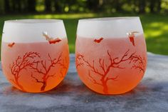 Bats in Tree Frosted Red Stemless Wine Glasses or by DeeLuxDesigns, $17.95