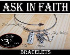 Bracelets, only $3.50 each (in packs of 5) YW 2017 Mutual theme Ask of God Ask in Faith James 1:5-6 Jewelry Charm Bracelet. Cute uplifting inspiring reminders of their Personal Progress and Yearly theme.  Includes cross-over Press Forward arrow bracelet plus charms, faith, wisdom owl, and nothing wavering anchor. Give them as YW gifts for birthdays, Christmas, Missionaries, Presidency, New Beginnings, Personal Progress, Young Women Values, Object Lessons, YWIE, Young Women in Excellence…