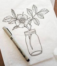 Flowers vintage drawing design 56 ideas for 2019 Doodle Art, Doodle Drawings, Pencil Drawings, Mason Jar Tattoo, Floral Drawing, Drawing Flowers, Painting Flowers, Flower Tattoo Drawings, Tattoo Flowers